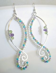 Turquoise Peridot Amethyst Earrings Hammered by BellaAnelaJewelry, $40.00