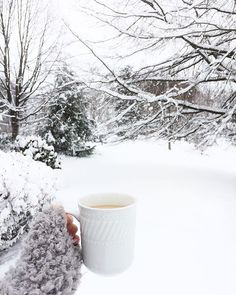Hot cuppa something on a snowy day