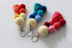 Pom Pom Keychain, Tassel Keychain, Pom Pom Bag Charm, Boho Keychain, Pom Pom Keychain, Orange Blue Pink, Tassel Bag Charm, Handdbag Charm Pompoms This colorful keychain is handmade of pom poms and tassel. It can be also eye catching bag charm for your beach or other bag. Must have accessory this Summer! Length: approx. 8 1/4 inches / 21 cm READY TO SHIP! PLEASE NOTE: Colors may vary slightly due to current yarn dye lots, computer monitor projections and photo lighting. All my ...