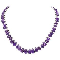 Preowned Amethyst Pearl Gold Necklace ($4,500) ❤ liked on Polyvore featuring jewelry, necklaces, choker necklaces, purple, gold pearl necklace, pearl choker, 18k gold necklace, amethyst gold necklace and purple necklace