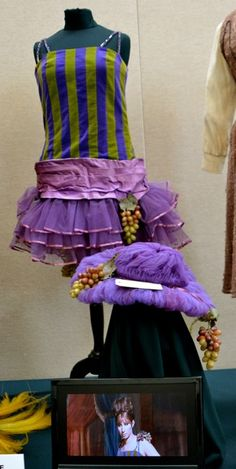 """Barbra Streisand """"Fanny Brice"""" Purple and green stripped leotard with hat from Funny Girl. (Col, 1968). This item is part of the auction: Debbie Reynolds: The Auction $65,000"""