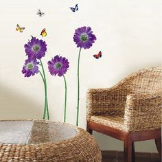 O'plaza ® Purple Violet Flowers with Butterflies Nature Scenery Wall Sticker/decals/decor Wallpaper wall art Mural Art Decor - - Amazon.com
