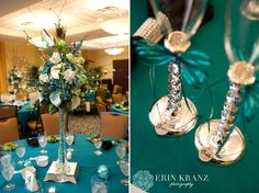 Erin Kranz Photography » Charlotte NC Wedding Photographer » Pretty wedding centerpieces and flute glasses