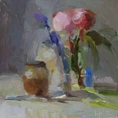 Christine Lafuente, Peonies and Fig Jam, 2015, oil on mounted linen, 8 x 8 inches - Somerville Manning Gallery