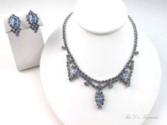 Vintage Baby Blue Rhinestone Necklace & Clip On Earrings SET Silver Tone