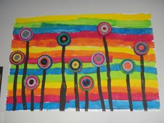 paysage de fleurs avec boites camembert et bouchons de lait Group Art Projects, Classroom Art Projects, School Art Projects, Art Classroom, Kindergarten Art, Preschool Art, Artists For Kids, Art For Kids, Painting Lessons