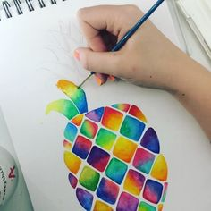 Pineapple watercolour 🍍🍍 should I post more videos like this? Pineapple Drawing, Pineapple Painting, Pineapple Art, Pineapple Sketch, Watercolor Pencil Art, Watercolor Paintings, Watercolors, Polychromos, Art Tutorials
