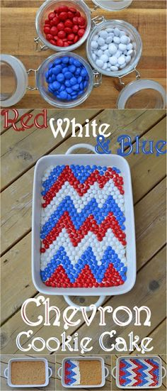 {July 4th} Red White and Blue Chevron Cookie Cake.