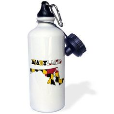 3dRose Maryland state flag in the outline map and letters for Maryland, Sports Water Bottle, 21oz