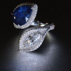 """""""Toi et Moi"""" means You and Me in French and refers to a ring that showcases two stones. These were common engagement rings during the late 19th and early 20th centuries, symbolizing two souls that are intertwined. I love the romantic notion of two souls being intertwined... And I love the sapphire and diamond combination of this KarenSuenFineJewellery Toi et Moi ring!"""