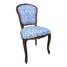 A newly upholstered French style side chair. Dining Chair Cushions, Upholstered Chairs, Dining Room Chairs, French Blue, French Vintage, French Style, Bar Chairs, Side Chairs, Vanity Chairs