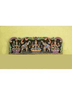 Kamakshi amman, Kajalakshmi and Saraswathi Wooden wall mount sculpture Gajalakshmi is one of the Eight incarnations of Lakshmi (Gayathri Devi). As the name itself shows us that this is related to the Elephant (Gaja). Amman, Wood Wall Decor, Wooden Walls, Wall Mount, Sculptures, Elephant, Indian, Beach, Interior