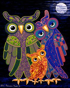 'Owl I Want Is You' - the cutest owl family ever! by Lisa Frances Judd ~ Original Australian Art