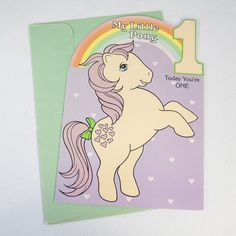 1984 My Little Pony Birthday Greeting Card with Envelope Age 1 Peachy