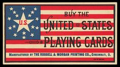 Trade card, with 1886 price list for various lines of playing cards on the back. In the firm of Russell, Morgan became The United States Printing Company. In the playing card manufacture operation became The United States Playing Card Company. Vintage Packaging, Vintage Labels, Vintage Ephemera, Vintage Cards, Vintage Typography, Graphic Design Typography, Lettering Design, Scrapbook Patterns, Vintage Business Cards