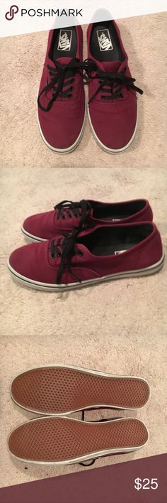 Maroon Vans In Great condition! Almost never worn! Can be worn by both men (6.5) and women (8) Vans Shoes Sneakers