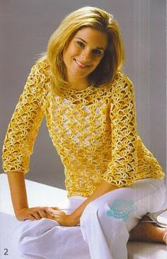 Yellow Openwork Top free crochet graph pattern