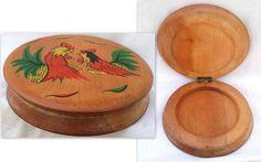 Vintage Hand-painted Hinged Wood Hamburger Press ~ Rooster Chickens ~  Japan