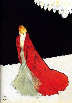 Illustration by René Gruau for Jacques Fath, 1950.