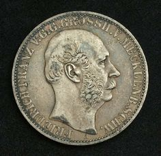 """German States coin, Grand Duchy of Mecklenburg-Schwerin Silver Jubilee Taler """"25th Regnal Anniversary"""", minted 1867"""