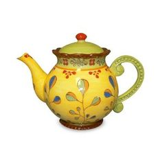 Gracie China Dutch Wax Hand Paint Ceramic 4-Cup Teapot, Green/Yellow/Floral