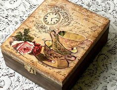 Decoupage tea box jewelry box decoupage box by CarmenHandCrafts