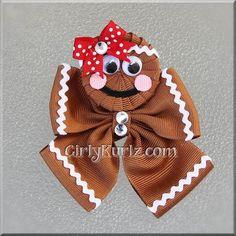 BABY Gingerbread Man Hair Bow Christmas Hair Bow by GirlyKurlz, $9.00