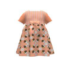 Puperita Hula Hoop Dress made with Spoonflower designs on Sprout Patterns. Bee-u-tiful Dim Snail Girls Dress
