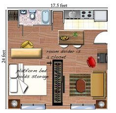 studio apartment layout, where the bathroom is could be stairs to loft. love the shelves/closet divider.