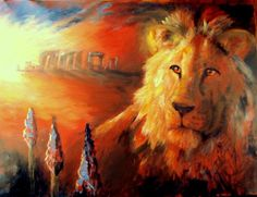 Lion and Stonehenge by Hilary Weeks