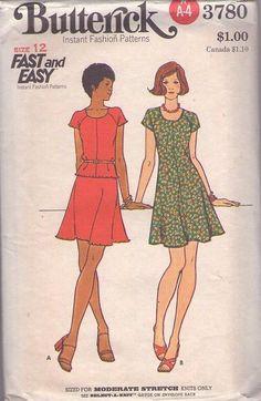 MOMSPatterns Vintage Sewing Patterns - Butterick 3780 Vintage 70's Sewing Pattern SASSY Fast & Easy Raglan Sleeve Lettuce Hem Edge Tshirt Top, Mini Dress, Skirt