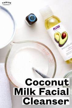 This all-natural, DIY coconut milk facial cleanser takes off makeup and dirt and softens and nourishes dull winter skin. Natural Remedies For Anxiety, Natural Cough Remedies, Cold Remedies, Natural Cures, Natural Healing, Natural Skin, Milk Face Wash, Diy Beauty Essentials, Coconut Milk Uses