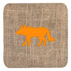 Set of 4 Wolf Burlap and Orange Foam Coasters