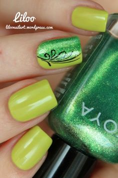 Fresh and Green Nails Nail Art www.finditforweddings.com