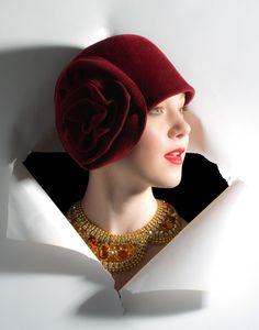 Ellen Christine rosette cloche made from one continious piece of felt velour.