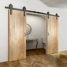 Thruslide Traditional Solid Rustic Oak Button Bead F & L Sliding Double Door - Lifestyle Image.    #barn #doors