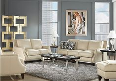 picture of Sofia Vergara Bal Harbour 2 Pc Beige Leather Living Room  from Living Room Sets Furniture
