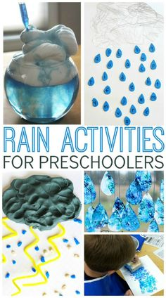 Rain activities for learning about spring or weather in your preschool, pre-k, or kindergarten classroom. Fun activities about rain Weather Activities Preschool, Seasons Activities, Pre K Activities, Preschool Projects, Projects For Kids, Preschool Learning, Spring Preschool Theme, Art Activities For Preschoolers, Teaching
