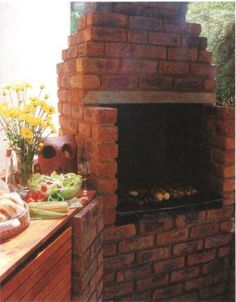 Simple brick barbeque - Like combination with the white corner example - this one gives easy access and less mess on the outside white chimney part