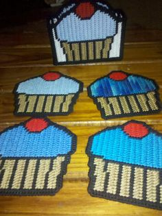 Plastic Canvas Cupcake Coasters by CountryWomanCrafts on Etsy, $7.00