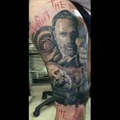 The Walking Dead tat, hella awesome Walking Dead Tattoo, The Walking Dead, Arm Tattoos, Tatting, Piercings, Arms, Ink, Cool Stuff, Portrait