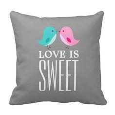 El amor es pájaro azul de los pájaros del rosa cojin