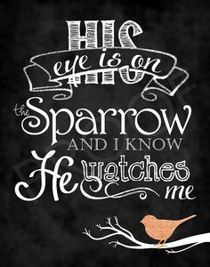 Chalkboard Art His Eye is on the Sparrow by ToSuchAsTheseDesigns, $15.00