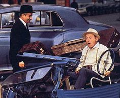 Louis de Funes and Bourvil in a classic moment from French film.