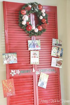 IHeart Organizing: UHeart Organizing: A Red Shutter Affair! A cute way to display Xmas cards! Clip, tape, or hang cards to painted shutter. Use a big wreath!