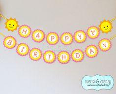 You Are My Sunshine Birthday Banner / Sunshine Birthday Party Happy Birthday Banner- INSTANT DOWNLOAD