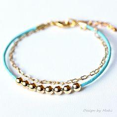 Aqua Blue Cotton Cord Layer Bracelet