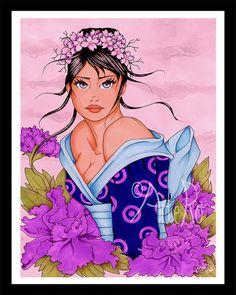 Art Print  Geisha  Original art  illustration by ArteRo on Etsy, €15.00 #bestofetsy #boebot2 #etsybot2 #etsyretwt