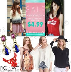 Dating with spring, all best-sellers for you! Over 100 styles, up to 40% off Start from $4.99 Time: 2/18/2014 - 2/23/2014 Don't miss, girls!  #PROMOÇÃO #Romwe! Até 40% de #DESCONTO De: 18/02 à 23/02/2014