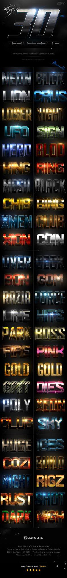 Simple 3D Light Text Effects Bundle #design Download: http://graphicriver.net/item/simple-3d-light-text-effects-bundle/12108311?ref=ksioks